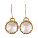 Sparkling Gold Stone Crystals Cocktail Dangler Earrings - MCHUJE12JL485