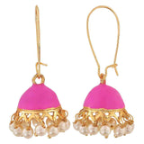 Special Pink White Meenakari Ceremony Jhumki Earrings - MCHUJE12JL493
