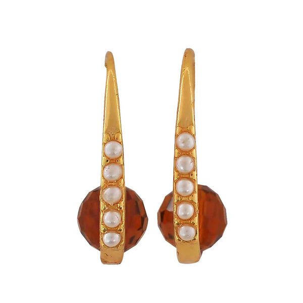 Exclusive Brown White Pearl College Dangler Earrings - MCHUJE12JL498