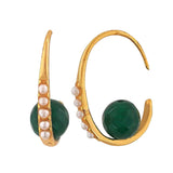 Lively Green White Pearl Party Dangler Earrings - MCHUJE12JL499