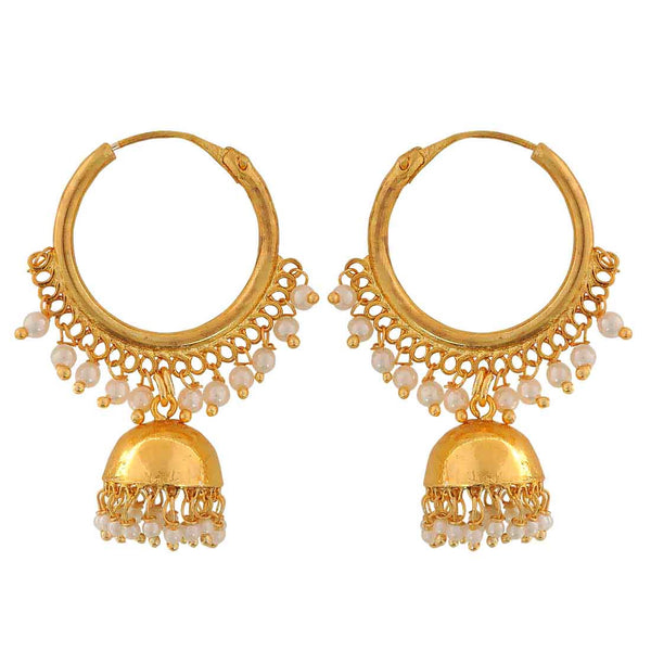 Lovable White Gold Indian Ethnic Reception Hoop Earrings - MCHUJE12JL504