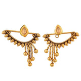 Darling Gold Green Indian Ethnic Party Drop Earrings - MCHUJE12JL505