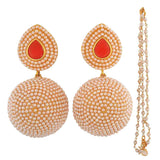 Exclusive Pink White Pearl Ceremony Drop Earrings - MCHUJE12JL527