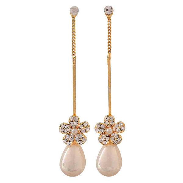 Sparkling White Gold Pearl Party Drop Earrings - MCHUJE4AG6