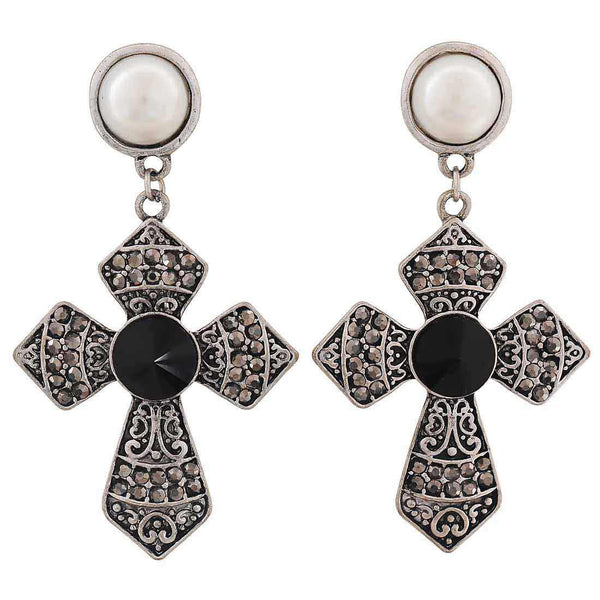 Hot Black White Stone Crystals Party Drop Earrings - MCHUJE4AG24