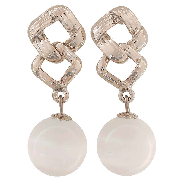 Plush White Silver Pearl College Drop Earrings - MCHUJE4AG29