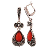 Sober Red Stone Crystals Party Drop Earrings - MCHUJE4AG36