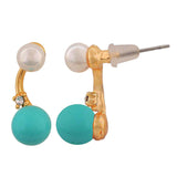 Lovable Blue White Pearl College Drop Earrings - MCHUJE4AG38