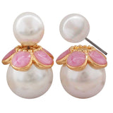 Sexy White Pink Pearl College Stud Earrings - MCHUJE4AG44