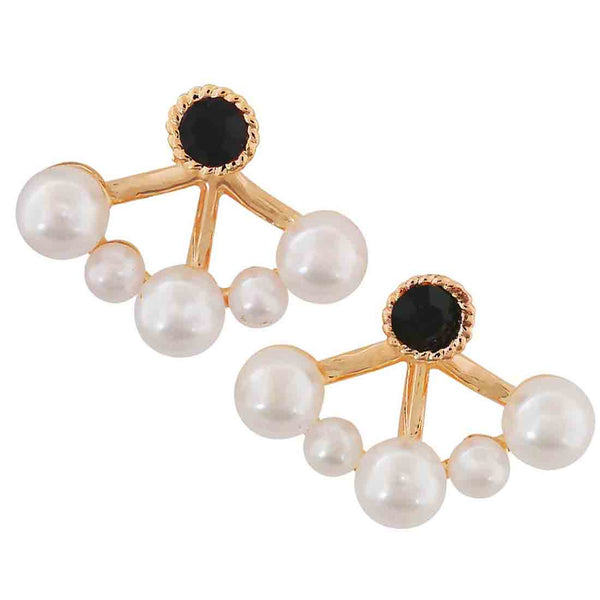 Unique White Black Pearl Cocktail Stud Earrings - MCHUJE4AG46