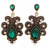 Terrific Green Bronze Stone Crystals College Drop Earrings - MCHUJE4AG47