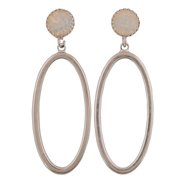 Smart Silver Off-White Designer College Drop Earrings - MCHUJE4AG56