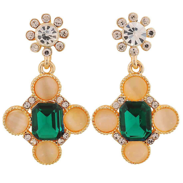 Sparkling Green Off-White Stone Crystals College Drop Earrings - MCHUJE4AG59