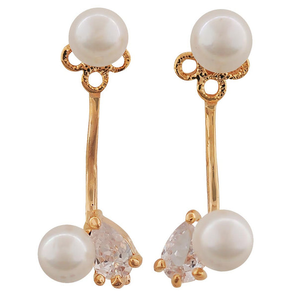 Grand White Gold Pearl College Drop Earrings - MCHUJE4AG68