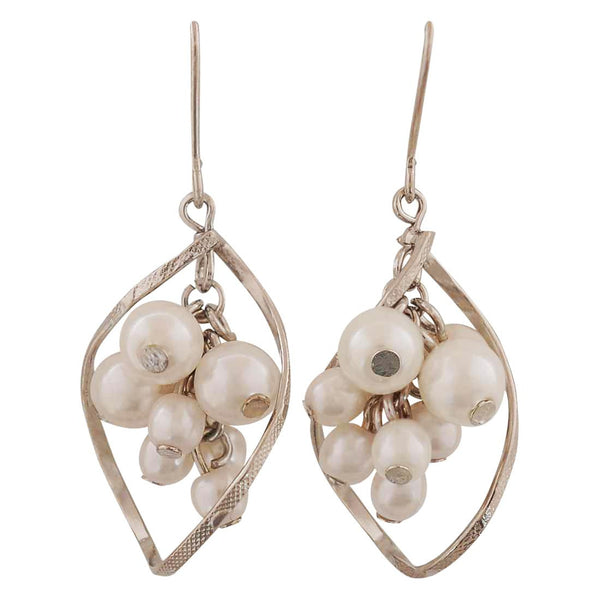 Pearl White Silver Pearl Cocktail Dangler Earrings - MCHUJE4AG73