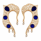 Oxidised Blue Gold Filigree Cocktail Cuff Earrings - MCHUJE4AG76