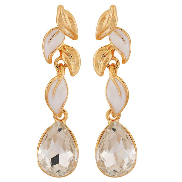 Plush White Gold Stone Crystals Cocktail Drop Earrings - MCHUJE4AG82