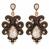 Gorgeous Bronze Stone Crystals Party Drop Earrings - MCHUJE4AG93