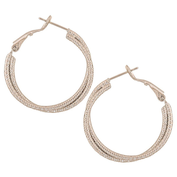 Fab Silver Designer Cocktail Hoop Earrings - MCHUJE4AG103