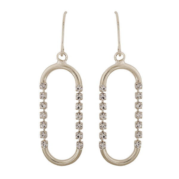 Sparkling Silver Stone Crystals Cocktail Dangler Earrings - MCHUJE4AG114