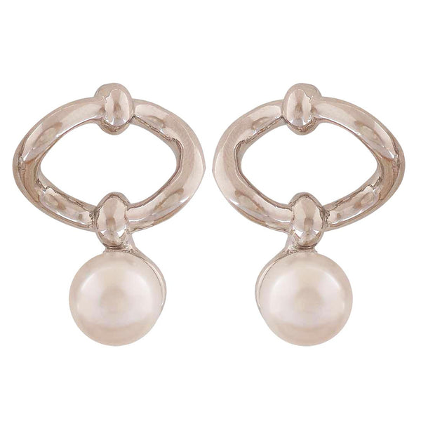 Exquisite White Silver Pearl College Drop Earrings - MCHUJE4AG124