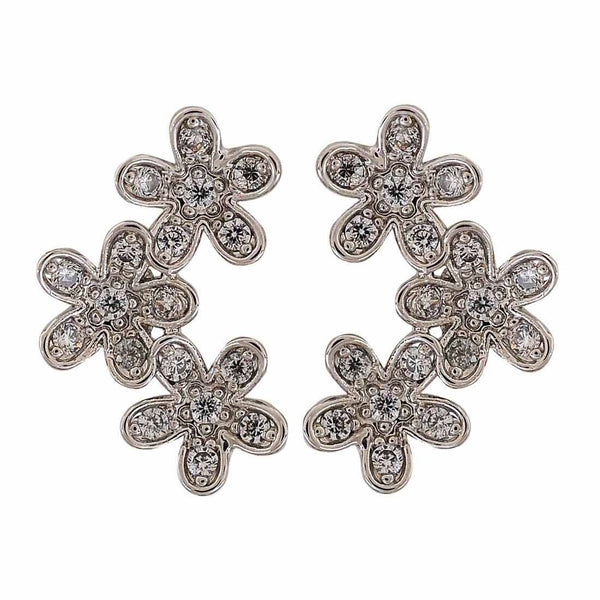 Bright Silver Stone Crystals College Stud Earrings - MCHUJE4AG127