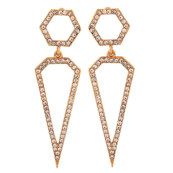 Hot Gold Stone Crystals Cocktail Drop Earrings - MCHUJE4AG132