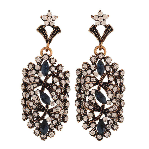 Smart Blue Gold Stone Crystals Everyday Drop Earrings - MCHUJE4AG136