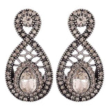 Special Silver Stone Crystals College Drop Earrings - MCHUJE4AG141
