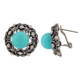 Victorian Blue Silver Pearl Party Clip On Earrings - MCHUJE4AG152