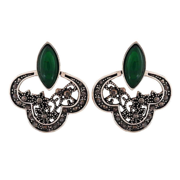 Class Green Silver Designer Cocktail Drop Earrings - MCHUJE4AG156