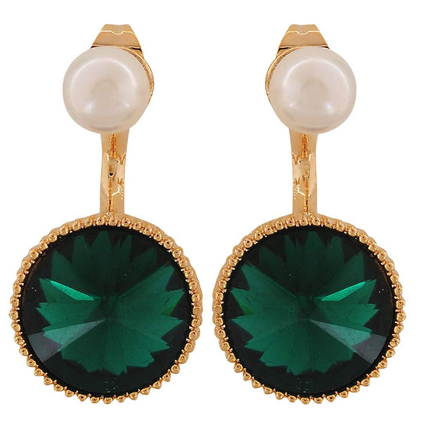 Fantastic Green White Stone Crystals Cocktail Drop Earrings - MCHUJE4AG159