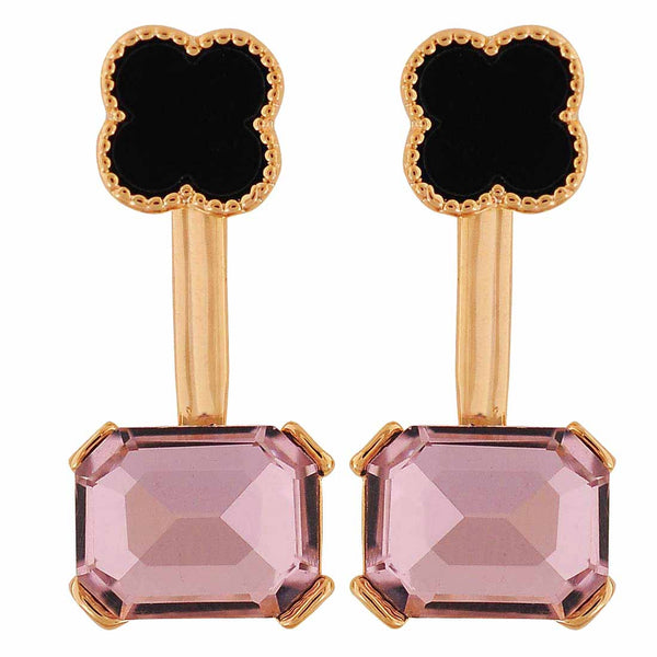 Fabulous Black Pink Stone Crystals College Drop Earrings - MCHUJE4AG160