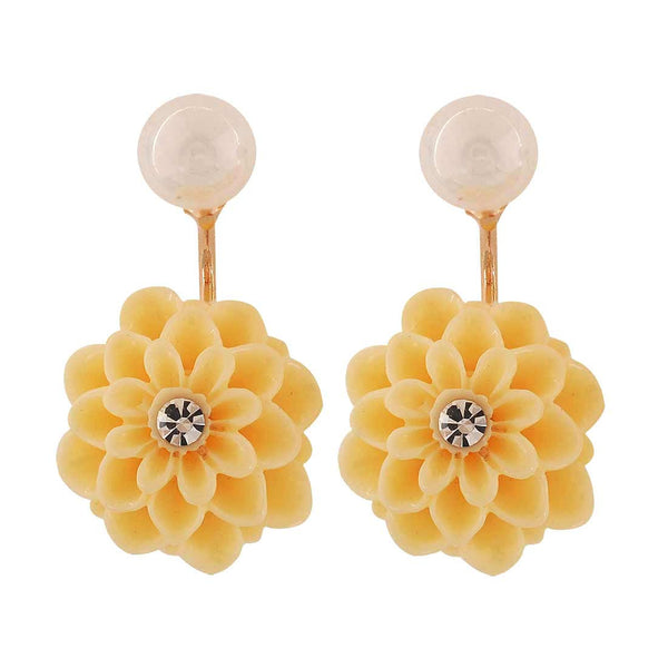 Fab Yellow White Pearl Party Drop Earrings - MCHUJE4AG161