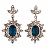 Pretty Blue Silver Stone Crystals College Drop Earrings - MCHUJE4AG168
