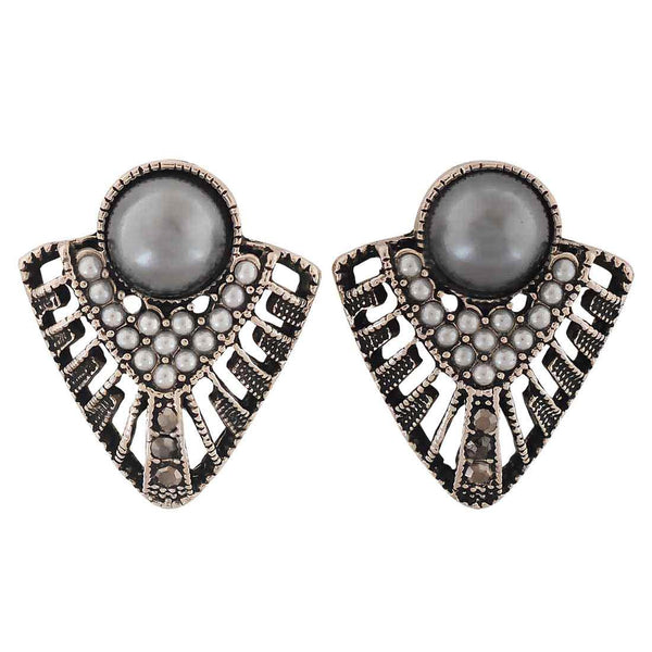 Stylish Grey Silver Pearl Cocktail Stud Earrings - MCHUJE4AG174