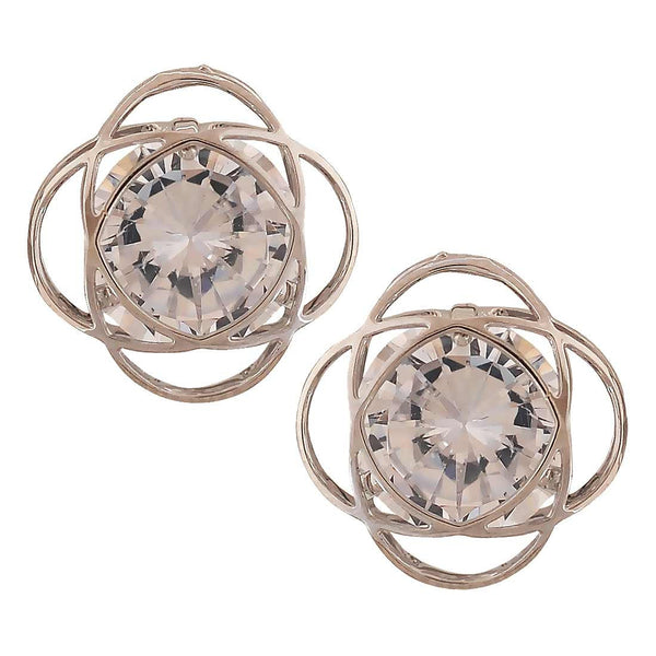 Gorgeous Silver Stone Crystals Dailywear Stud Earrings - MCHUJE4AG182