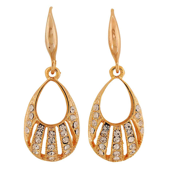 Artistic Gold Stone Crystals Party Dangler Earrings - MCHUJE4AG183