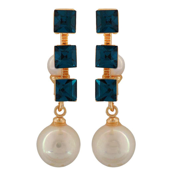 Grand Blue White Designer Party Drop Earrings - MCHUJE4AG188