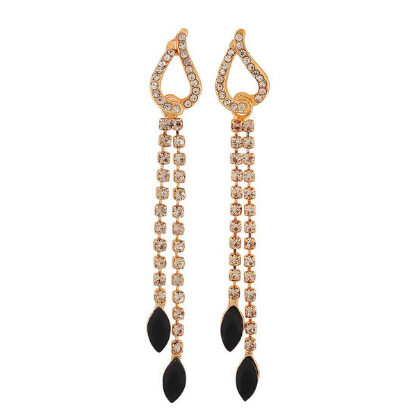 Suave Black Gold Stone Crystals Cocktail Tassel Earrings - MCHUJE4AG195