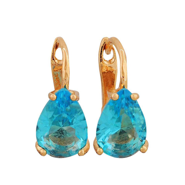 Classy Blue Stone Crystals Office Huggie Earrings - MCHUJE4AG201