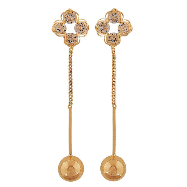 Awesome Gold Stone Crystals Party Drop Earrings - MCHUJE4AG210