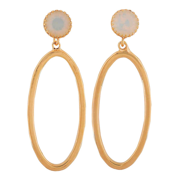 Sober Gold Off-White Designer Party Drop Earrings - MCHUJE4AG213