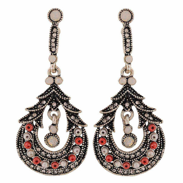 Sensual Pink White Oxidised College Drop Earrings - MCHUJE4AG223