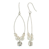 Stunning White Silver Pearl College Dangler Earrings - MCHUJE4AG237
