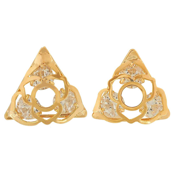 Trendy Gold American Diamond Casualwear Stud Earrings - MCHUJE4AG247