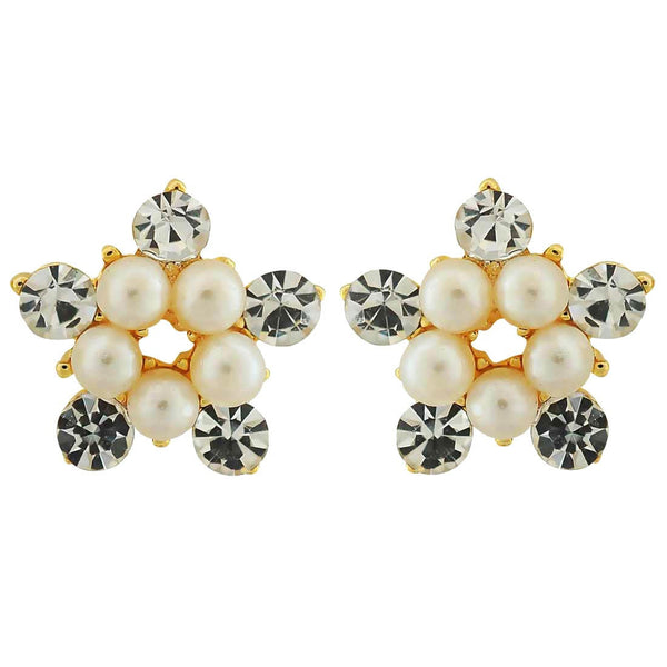 Cool White Pearl Casualwear Stud Earrings - MCHUJE4AG253