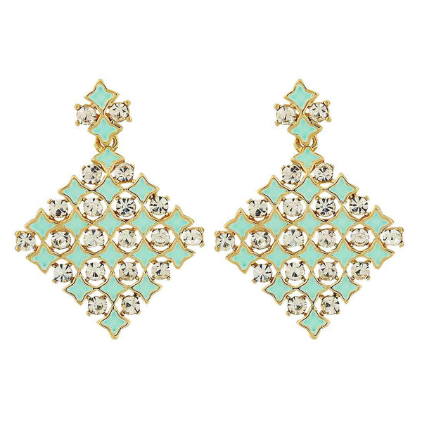 Lively Green Stone Crystals College Drop Earrings - MCHUJE4AG254