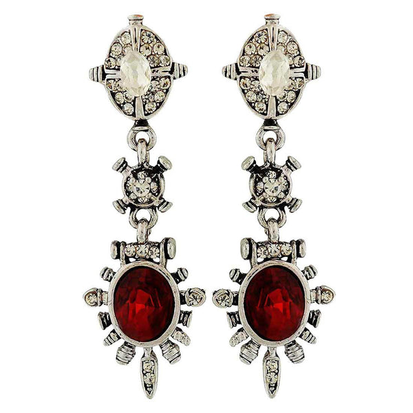 Graceful Red Silver Stone Crystals Party Drop Earrings - MCHUJE4AG255