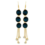 Cool Blue Gold Stone Crystals Cocktail Dangler Earrings - MCHUJE4AG271